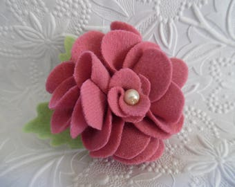 Felt Flower Brooch Rose Pink Pin Jewelry Wool Felted Flowers