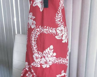 Vintage Tropical Hawaiian Dress in Lei Print, Red and White -- Size M