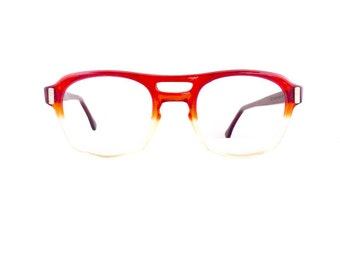 70s American Optical Aviator Eyeglasses Frames Unisex Vintage 1970's Translucent Red to Yellow Fade Out Frames Flexi Fit #M719 DIVINE (EB)