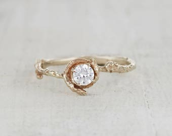 White Sapphire Nature Engagement Ring – Nature Inspired Twig Ring in Yellow Gold, White Gold, Rose Gold or Platinum