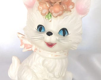 Vintage Lefton Japan White Cat Bank Figurine