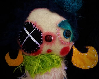 Bling Bling Girl - a Whimsical Funny Happy Ratty Tatty Monster Art Doll