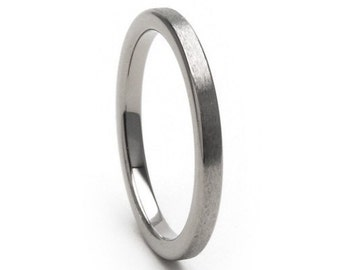 New 2mm Flat Stone Finish Comfort Fit, Custom Titanium Ring-2F-ST