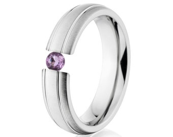 Tension Set Ring, Uniquley You, 6mm,  Titanium Ring, Amethyst, 6HR2G-XB-Tension