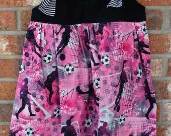 Girl Power Soccer Pink and Black Size 6 Tie Dress Ready to Ship Machine Washable