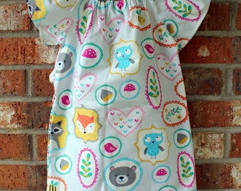 Woodland Animal Themed Girl's Toddler Cotton Party Summer Dress Owl Raccoon Fox Size 12 Months Grey Pink Turquoise Ready to Ship
