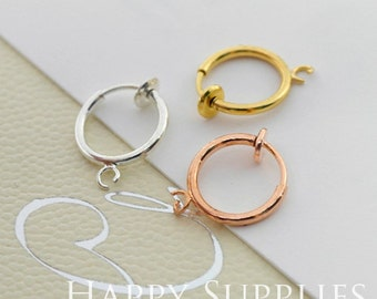 10 pieces (5 pairs) Golden / Silver / Rose Gold Plated Brass Earring Clips (EC008)