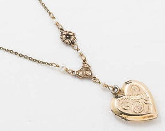 Heart Locket, Vintage Locket Necklace in Sterling Silver & Gold Vermeil with Genuine Pearls, Flower Charm, Floral Engraving Jewelry Gift