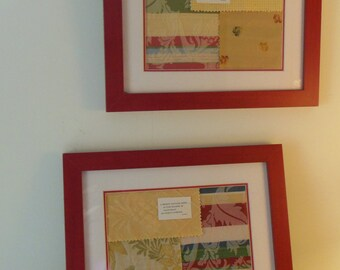 """Pair Framed Fabric Collage Pictures, Red and Yellow, Haiku, 14.75"""" X 12.75"""""""