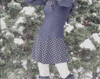 Dress - Steampunk - Burning Man - Bohemian - Playa Wear - Polka Dot Dress - Short Dress - Bohemian Gypsy - Sexy - Size X- Small