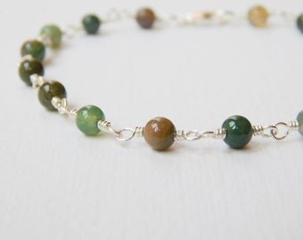 Indian Agate Bracelet - Sterling Silver Beaded Bracelet Rosary Bracelet Beadwork Bracelet Agate Beads Rosary Chain
