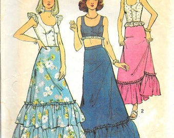 SIMPLICITY 6382 UNCUT Size 8 Scoop Neck Sleeveless Cropped Blouse Top Ruffled Maxi Midi Skirt Peasant Boho Chic Retro Vintage 1970's Pattern