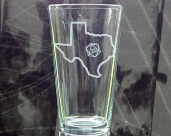 State Outline d20 Pint Glass - Choose Your State - Roll 20 - Etched Pint Glass - Gamer Gift - DnD Gift - Etched Beer Glass - Critical Hit