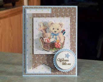 Handmade Baby Boy Card - Welcome Little One - 3-D Teddy Bear in Basket