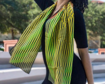 Green Stripes Geometric Art Scarf Silk ready to ship Limited Edition Large Art Scarf