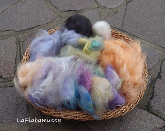 For sale Mohair fiber mixed colors, ready to art batt drym carder hand processed fiber for felting, spinning