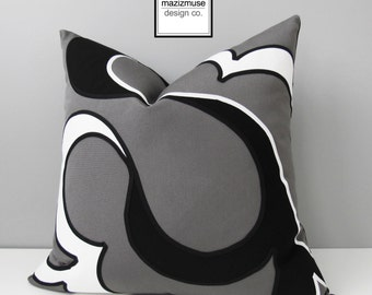 Modern Black White & Grey Outdoor Pillow Cover, Decorative Pillow Cover, Gray Abstract Pillow Cover, Sunbrella Cushion Cover, Mazizmuse