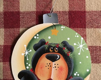 Adorable Woodland  Bear and Moon Hand  Painted Wood Christmas Ornament