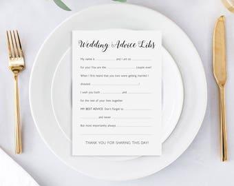 Wedding Mad Libs, Wedding Advice Lib Cards, Printable Advice Cards, Wedding Game, Printable Wedding Madlib, Reception Game, Alejandra