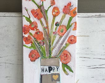 Flower painting, floral art, orange flowers, happy, mixed media art, original painting,abstract floral art