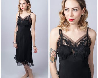 Vintage 1950's Black Rayon and Lace Short Slip/ 50's Black Lingerie Size X-small/ Small