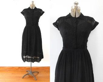 Black 1940s Dress / 40s Sheer Black Cotton Voile Dress