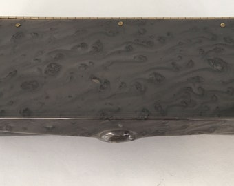Vintage 50s Marbled Grey Lucite Clutch Never Used