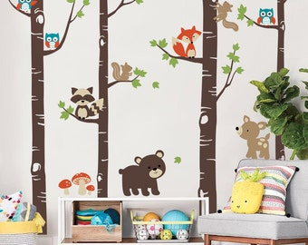 Birch Trees with Cute Forest Animals, Woodland Nursery Wall Decal, Birch Tree Wall Decal, Nursery Decor,  Forest Friends Decal Set