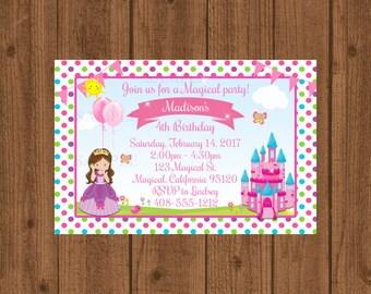 Princess Birthday Party Invitation, Princess Party Invitation, Magical Princess Invitation, Girls Birthday Invitation, Printable Invitation