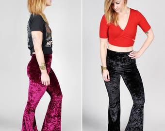 Crushed Velvet Dreams Bell Bottoms – Handmade 70's Inspired Pant Long Flare Pants Bells Maroon Blue Black Stretch Knit MADE TO ORDER