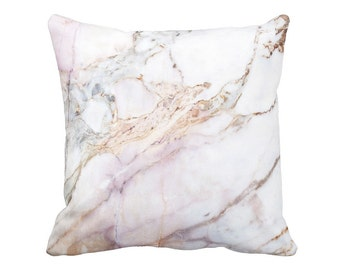 Marble Pillow Cover in Pink and Gold