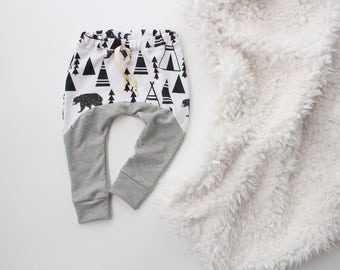 6M - 2T/3T teepee bear and grey jogger style baby leggings | baby leggings | baby joggers | heather baby leggings | gray baby | hipster baby