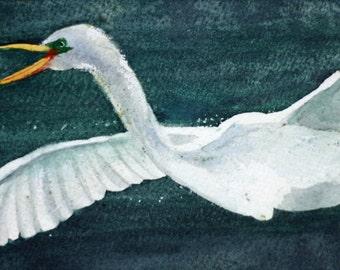 Original egret watercolor, white bird flying, white and  blue green, Florida, summer, bathroom art, long art, rectangle, sea bird