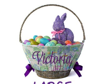 Large Personalized Easter Basket Liner for oversized baskets, Easter Toile, Basket not included, Jumbo, Monogrammed Easter basket liner