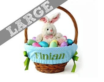 Large Personalized Easter Basket Liner for oversized baskets - Blue Tiny Dots - Basket not included - Jumbo Size - Ships in time for Easter