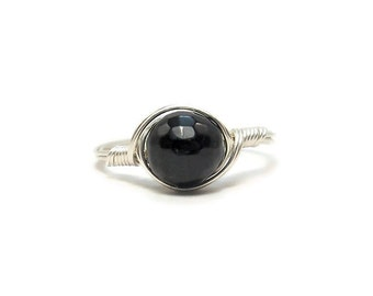 LG Faceted Black Tourmaline Ring Argentium Sterling Silver Wire Wrapped Ring Custom Sized
