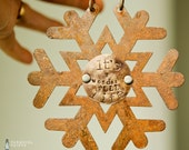 CUSTOM HANDSTAMPED ORNAMENT - personalized by Farmgirl Paints - glittery rust tin snowflake