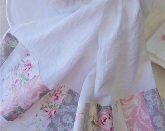 Patchwork Rose Pink and Gray Roses Damask Lacey Print Fabric Trimmed Flour Sack Towel Kitchen Towel Tea Towel All Cotton