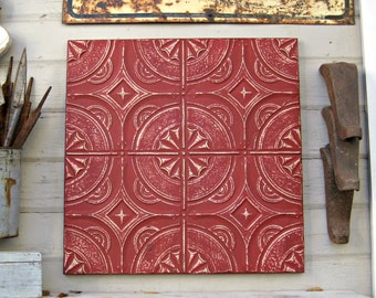 Antique Ceiling Tile. 2'x2' Antique architectural salvage. Distressed FRAMED Vintage metal tile. Red wall art.  Red Metal wall decor.