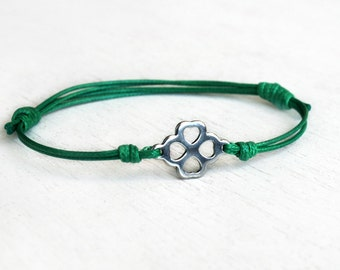 Clover Flower Bracelet, Clover Flower Anklet (many colors to choose)