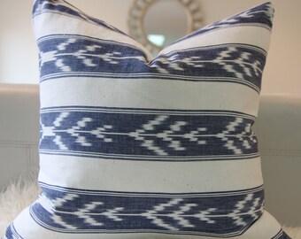 "18x18"" Blue stripes Ikat pillow cover, ikat print, ikat pillow, bohemian decor, boho pillow, blue ikat"