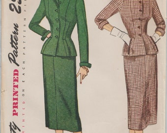 Vintage 50s Sewing Pattern / Simplicity 3343 / Skirt Jacket Suit / Bust 35