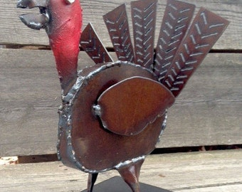 Art Metal Freestanding Turkey Sculpture Mantle Decor Rustic Thanksgiving