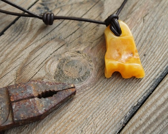 Butterscotch Baltic Amber Pendant Yellow Raw Stone Charm For Man Unisex Jewelry Gift for him Dad Dude Friend