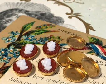 Vintage Cameos,vintage Cabochons, Victorian Cameos, Baroque Cameos, bezel cameos, red Cameos,NOS Cameos Red #1035B