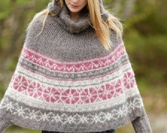 Women's Knit Fair Isle Poncho Sweater Multicolored Hand Knitted Sweater, Different colors available