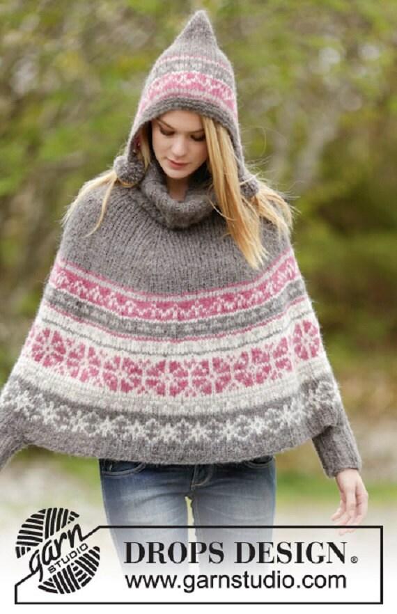 Women's Knit Fair Isle Poncho Sweater Multicolored Hand