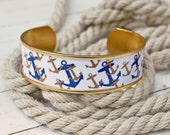 Nautical Jewelry, Nautical Bracelet, Nautical Cuff, Anchor Jewelry, Anchor Bracelet, Anchor Cuff, Preppy Jewelry, Preppy Bracelet