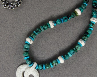 White Snake Necklace Dainty Carved Bone Snake w African Turquoise and American Turquoise Ethnic Boho Jewelry