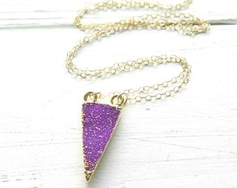 Purple Crystal Druzy Necklace, 14K Gold Boho Triangle Pendant, Gold Dipped Druzy Pendant, Triangle Necklace,Raw Stone Necklace,Natural Druzy